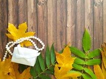 Листья осени на деревянной предпосылке отбортовывают, подарочная коробка, сюрприз Стоковое Фото