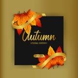 Листья осени падают с золотой лентой с черной предпосылкой шаблон предложения продажи шаблон скидки плаката также вектор иллюстра бесплатная иллюстрация
