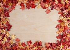 Листья осени против деревянной предпосылки Стоковая Фотография