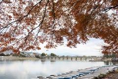 Листья осени с шлюпкой в озере Стоковое Изображение RF