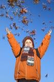 листья осени улавливая Стоковая Фотография