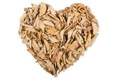 Листья осени формируя сердце на белой предпосылке Стоковые Изображения