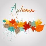 Листья падения с падением выплеска цвета Иллюстрация штока