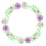 Листья свадьбы венка лист весны лета гирлянды акварели фиолетовые Стоковое Фото