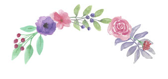 Листья свадьбы гирлянды венка лета весны лист свода акварели фиолетовые Стоковые Фото