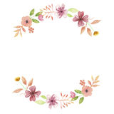 Листья свадьбы гирлянды мустарда свода венка лета персика акварели Стоковые Изображения RF