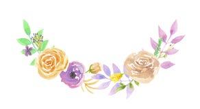 Листья свадьбы лист венка весны лета свода гирлянды лаванды акварели Стоковое Изображение
