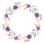 Листья свадьбы пинка персика гирлянды венка лист акварели фиолетовые Стоковое Изображение RF