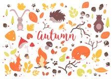 листья собрания осени цветастые иллюстрация штока