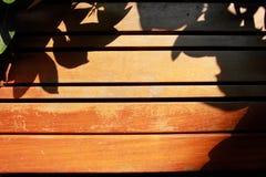Листья тени на деревянном месте Стоковое Фото