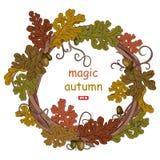 Листья дуба осени Венок осеннего дуба выходит с жолудями бесплатная иллюстрация