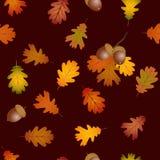 Листья дуба падения и предпосылка жолудей безшовная иллюстрация штока
