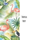 Листья, фламинго и Toucan вертикального знамени вектора акварели тропические изолированные на белой предпосылке иллюстрация штока