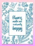 Листья цветков вектор комплекта сердец шаржа приполюсный Милое флористическое собрание, рука нарисованная акварель поздравительны Стоковое Фото