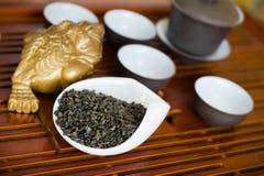 Листья чая в макросе Стоковое Фото