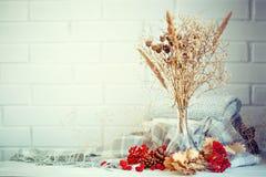 Листья, ягоды и конусы осени на деревянном столе крупный план предпосылки осени красит красный цвет листьев плюща померанцовый Стоковое Фото