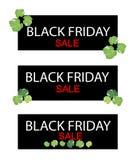 Листья Polyscias на черном знамени продажи пятницы Стоковая Фотография RF