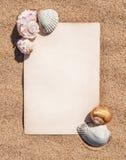 Лист бумаги и seashells на песке Стоковые Фото