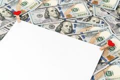 Лист бумаги на долларе Стоковые Фотографии RF