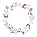 Лист гирлянды венка гирлянды осени ягод акварели фиолетовые Стоковые Изображения