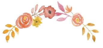 Лист гирлянды коралла венка гирлянды свода осени цветка акварели оранжевые Стоковое Фото