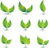 Лист, завод, логотип, экологичность, люди, здоровье, зеленый цвет, листья, комплект значка символа природы вектора конструируют Стоковое Изображение RF