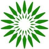 Лист, значок завода Круговой геометрический мотив с лепестками Стоковое Изображение RF