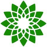 Лист, значок завода Круговой геометрический мотив с лепестками Стоковые Изображения RF