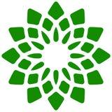 Лист, значок завода Круговой геометрический мотив с лепестками Стоковые Фото