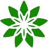Лист, значок завода Круговой геометрический мотив с лепестками Стоковые Фотографии RF