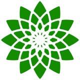 Лист, значок завода Круговой геометрический мотив с лепестками Стоковые Изображения