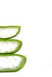 Лист и кусок vera алоэ изолированные на белой предпосылке Стоковая Фотография