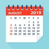 Лист календаря августа 2019 - иллюстрация вектора иллюстрация вектора