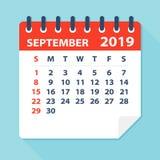 Лист календаря сентября 2019 - иллюстрация вектора иллюстрация штока