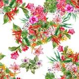 Лист картины акварели и цветки, безшовная картина на белой предпосылке Стоковые Изображения