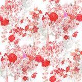 Лист картины акварели и цветки, безшовная картина на белой предпосылке Стоковое Фото