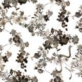Лист картины акварели и цветки, безшовная картина на белой предпосылке Стоковые Фото