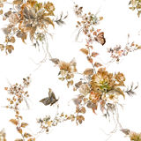 Лист картины акварели и цветки, безшовная картина на белом backgroun Стоковое Изображение