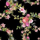 Лист картины акварели и цветки, безшовная картина на темной предпосылке Стоковые Фото