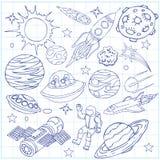 Лист книги тренировки с doodles космического пространства Стоковое фото RF