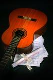 лист нот акустической гитары Стоковое фото RF
