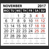Лист ноябрь 2017 календаря Стоковые Фото