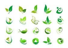 Лист, логотип, органический, здоровье, люди, завод, экологичность, комплект значка дизайна природы