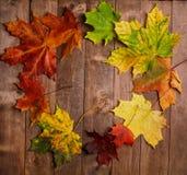 Лист осени на деревянной предпосылке Стоковое Изображение
