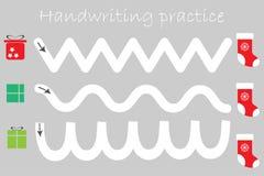 Лист практики почерка, тема рождества, подарочные коробки и ботинки xmas, деятельность при детей preschool, воспитательная игра д иллюстрация штока