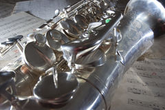 лист саксофона нот старый Стоковая Фотография RF