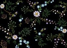 Лист травы ветвей флористической безшовной картины тенденции вышивки малые с меньшим голубым фиолетовым стоцветом маргаритки цвет Стоковые Изображения