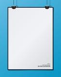 Лист чистого листа бумаги вектора на striped предпосылке Стоковая Фотография