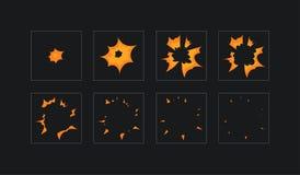 Лист эльфа для взрыва огня мультфильма, мобильной, внезапной анимации влияния игры 8 кадров на темной предпосылке иллюстрация вектора