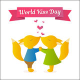 Лисы держа руки и целовать Иллюстрация вектора на праздник День поцелуя мира Стоковое Фото